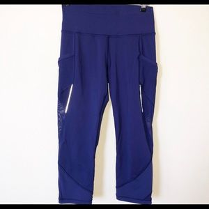 Purple/blue crop mesh lulu leggings